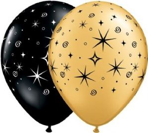 Sparkles Latex Balloons | Black & Gold 50pcs | Free Delivery